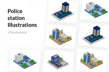 Police Station Illustration Pack