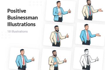 Positive Businessman Illustration Pack