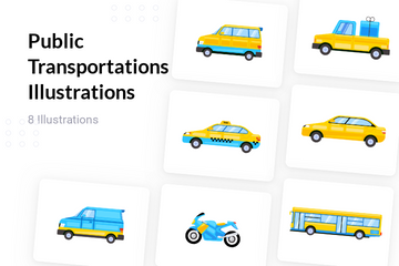 Public Transportations Illustration Pack