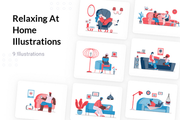 Relaxing At Home Illustration Pack