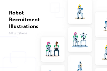 Robot Recruitment Illustration Pack