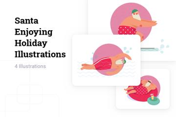 Santa Enjoying Holiday Illustration Pack