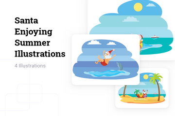 Santa Enjoying Summer Illustration Pack