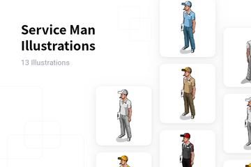 Service Man Illustration Pack