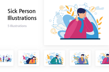 Sick Person Illustration Pack