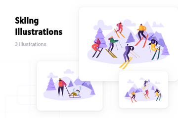 Skiing Illustration Pack
