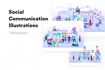 Social Communication Illustration Pack