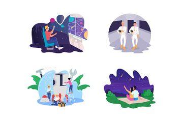 Space Exploration Processes Illustration Pack