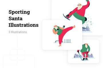 Sporting Santa Illustration Pack