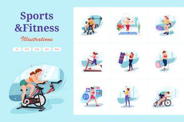 Sports & Fitness Illustration Pack