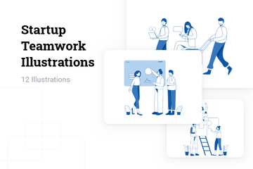 Startup Teamwork Illustration Pack