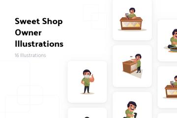 Sweet Shop Owner Illustration Pack