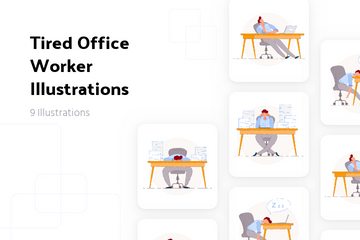 Tired Office Worker Illustration Pack