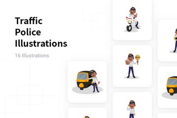 Traffic Police Illustration Pack
