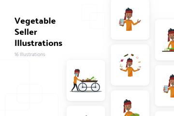 Vegetable Seller Illustration Pack