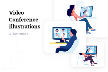 Video Conference Illustration Pack