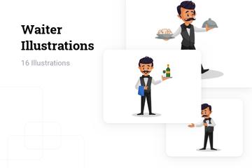Waiter Illustration Pack