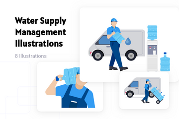Water Supply Management Illustration Pack