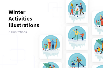 Winter Activities Illustration Pack