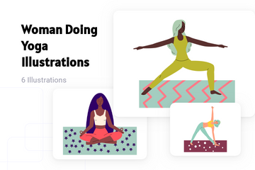 Woman Doing Yoga Illustration Pack
