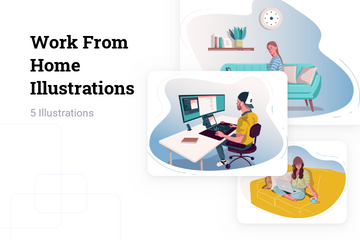 Work From Home Illustration Pack