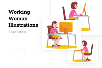 Working Woman Illustration Pack