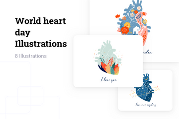 World Heart Day Illustration Pack