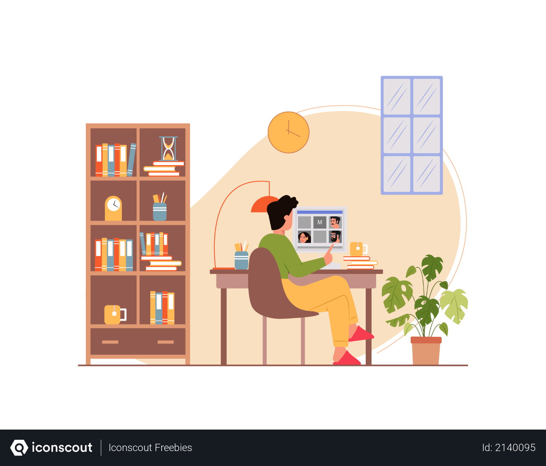 Businessman attending video conference Illustration