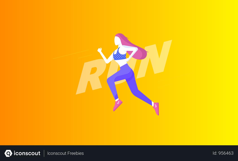 Girl Jogging Illustration