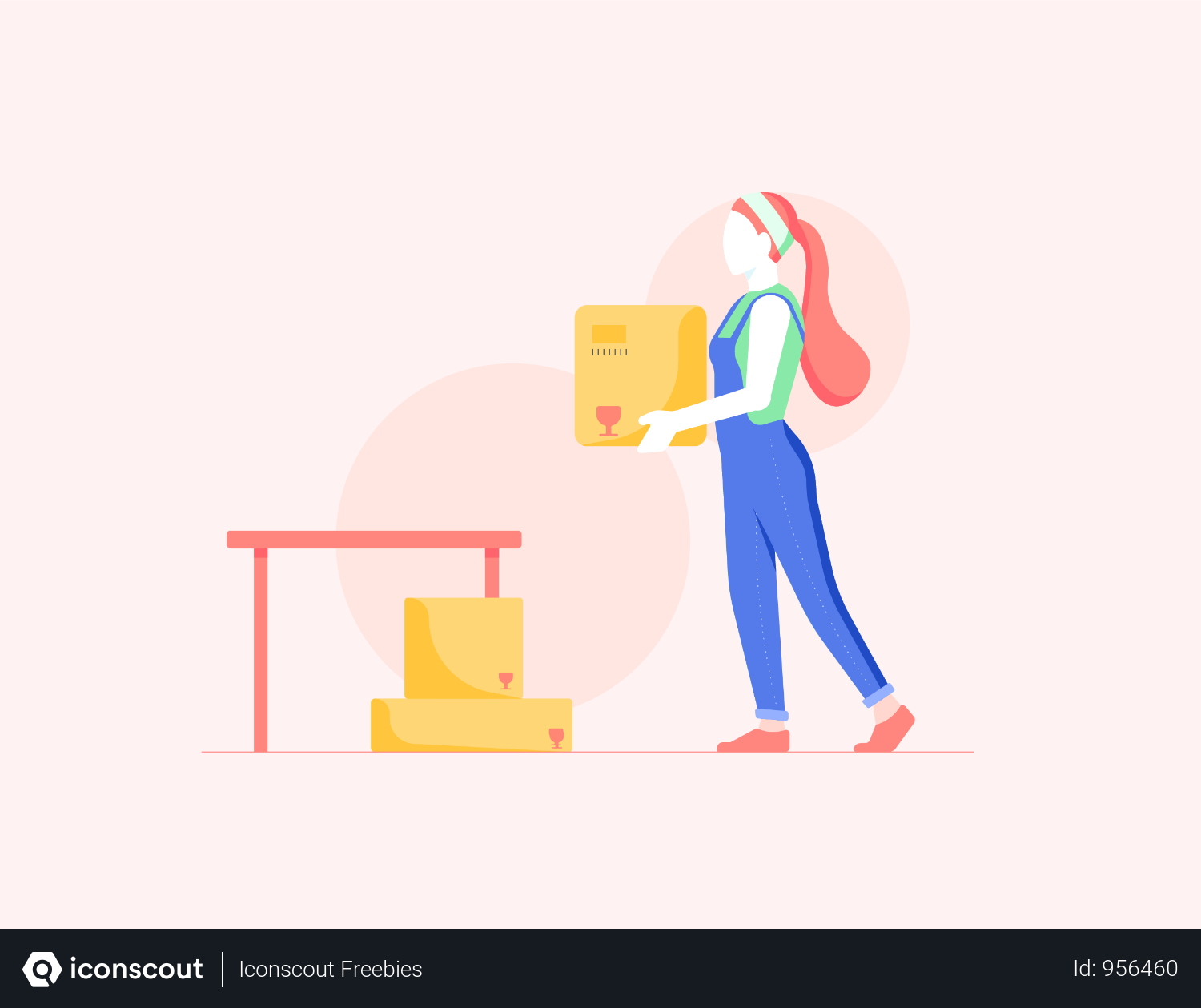 Girl Moving Boxes Illustration