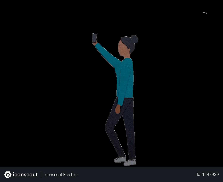 Girl taking selfie Illustration