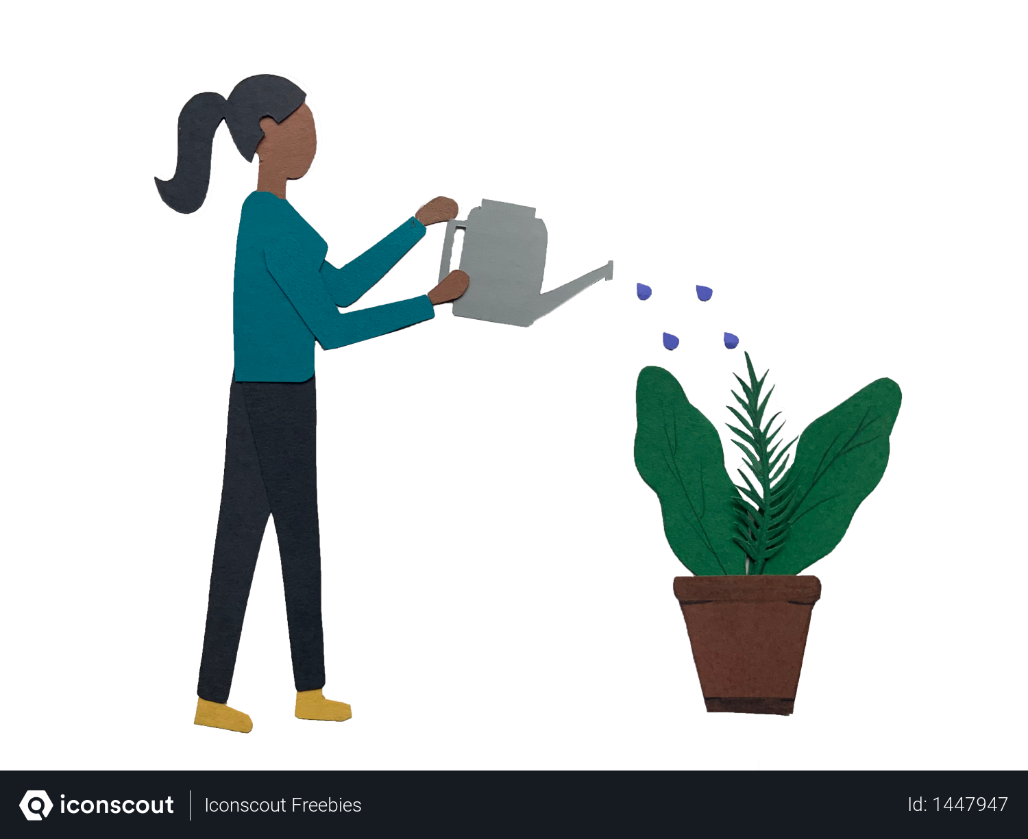 Girl watering plant using water can Illustration
