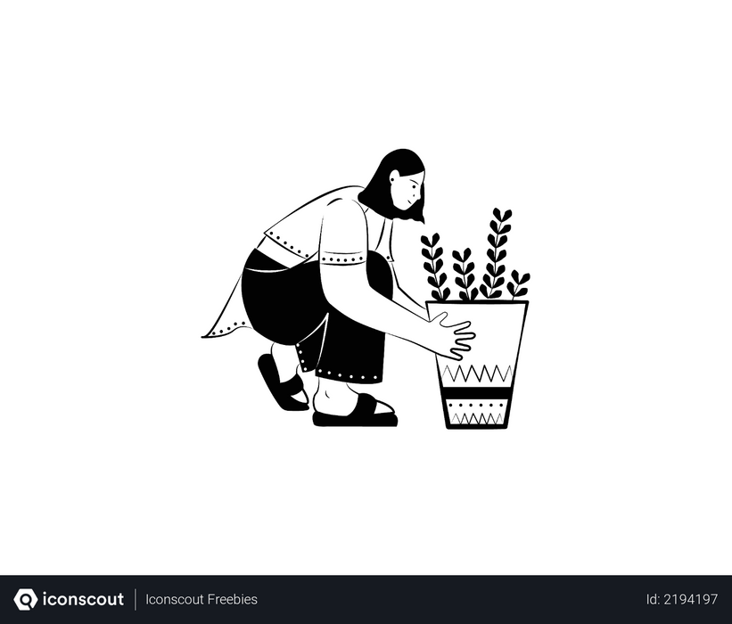Girl with plant Illustration