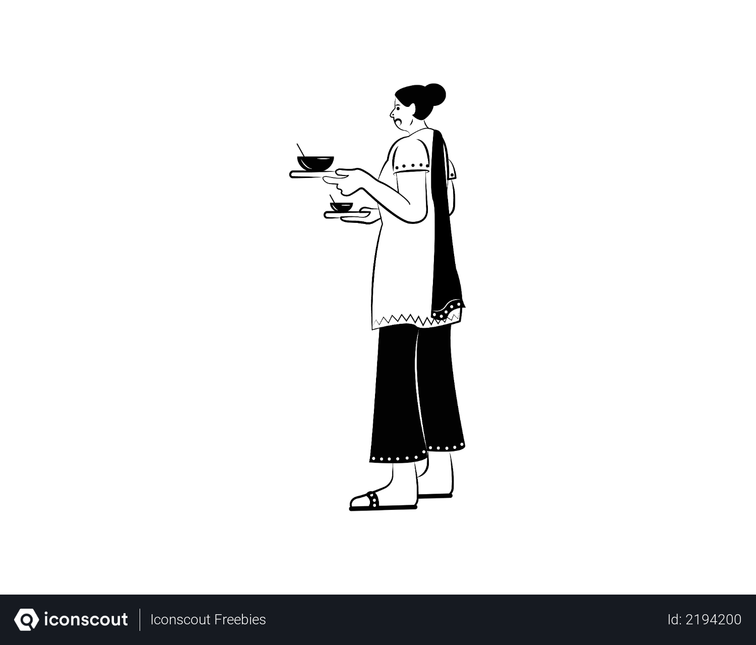 Free Indian Woman With Tea About To Serve Illustration Download In Png Vector Format