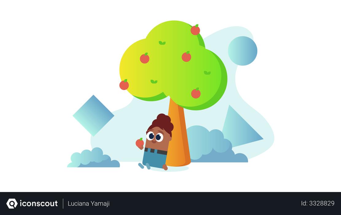 Kid sitting under the apple tree Illustration