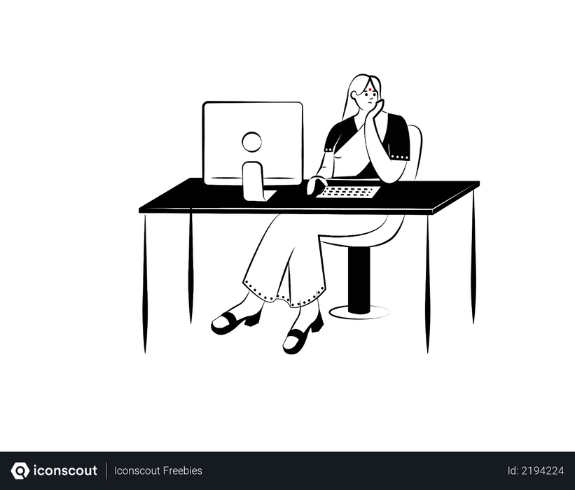 Lady employee working in office Illustration