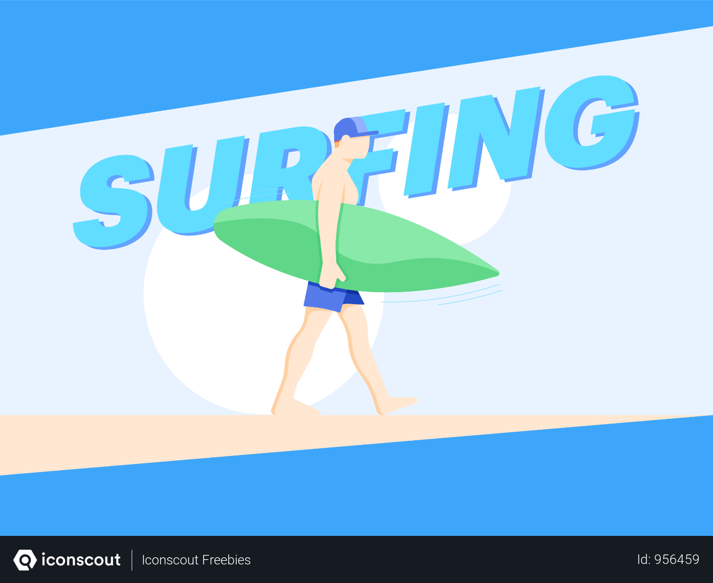 Man Going For Surfing Illustration