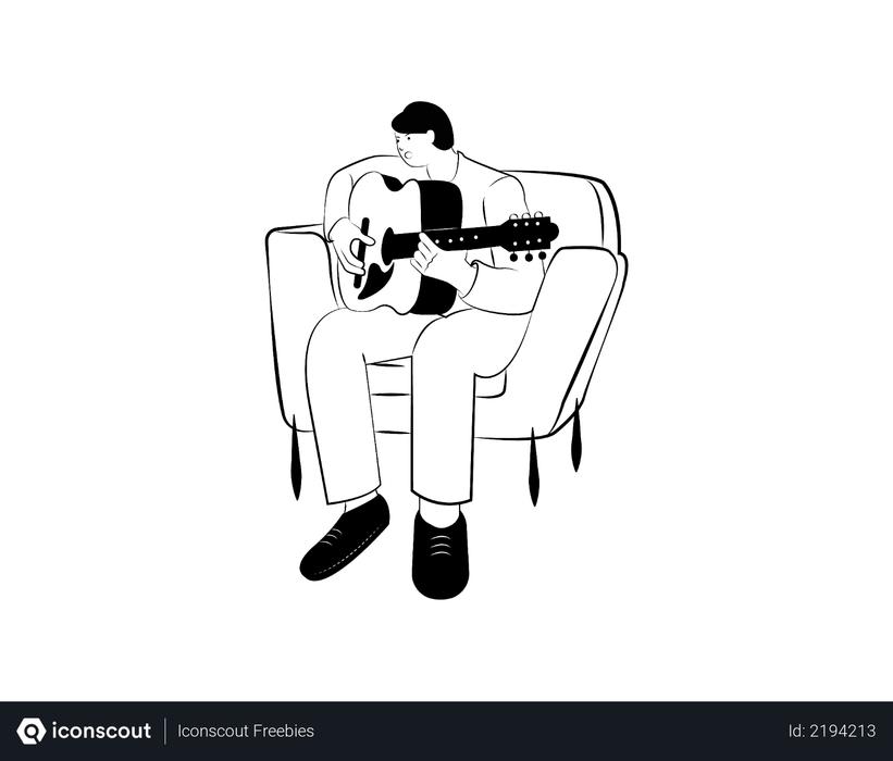 Man playing guitar on sofa Illustration