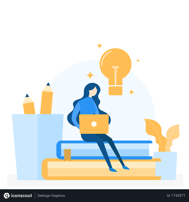 Online learning concept Illustration