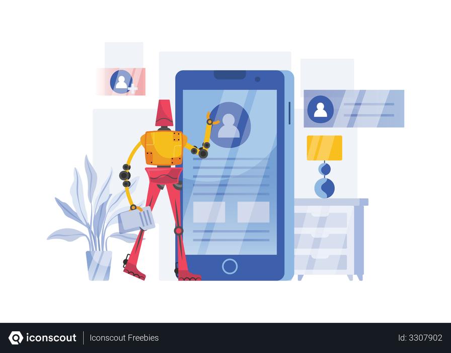 Robot checking user profile Illustration