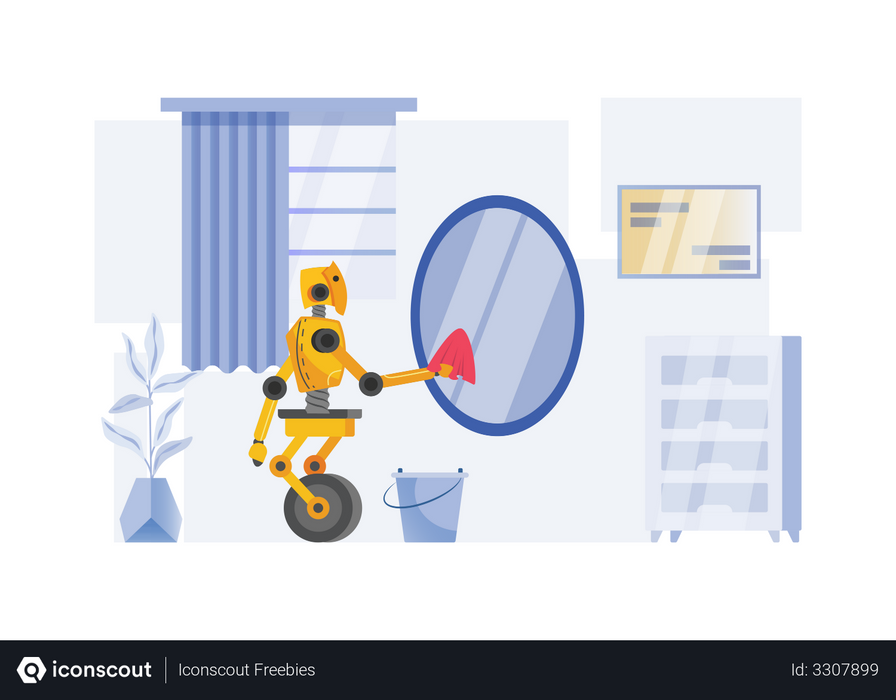 Robot cleaning mirror Illustration