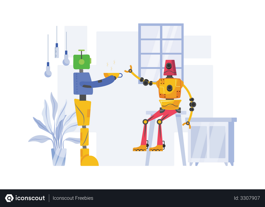 Robot Serving food Illustration