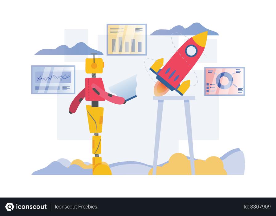 Robot working on startup Illustration
