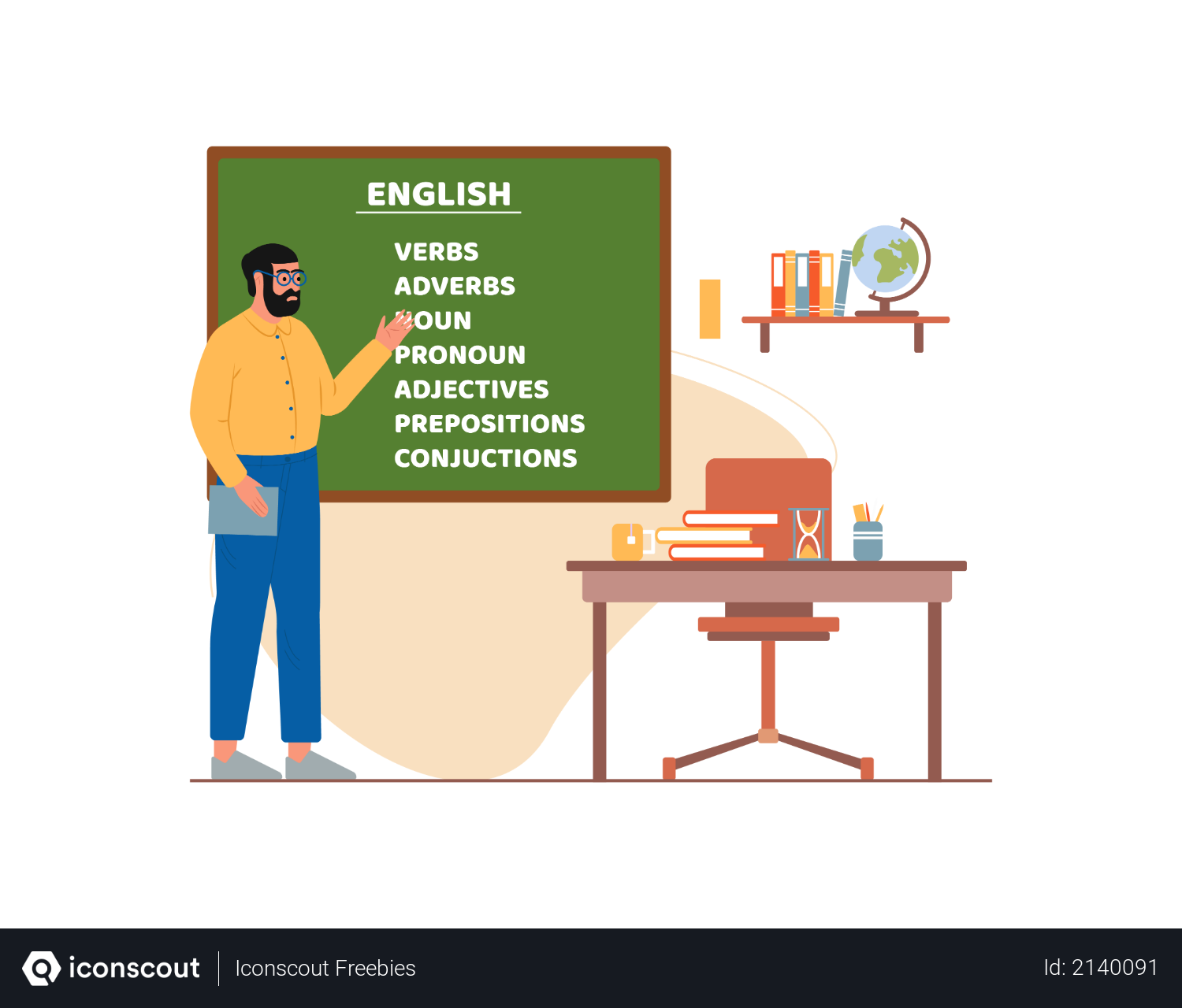 Sir teaching english in school Illustration