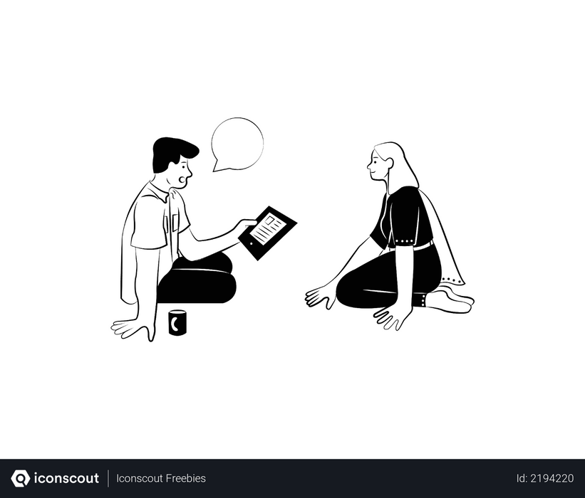 Small team discussing ideas Illustration