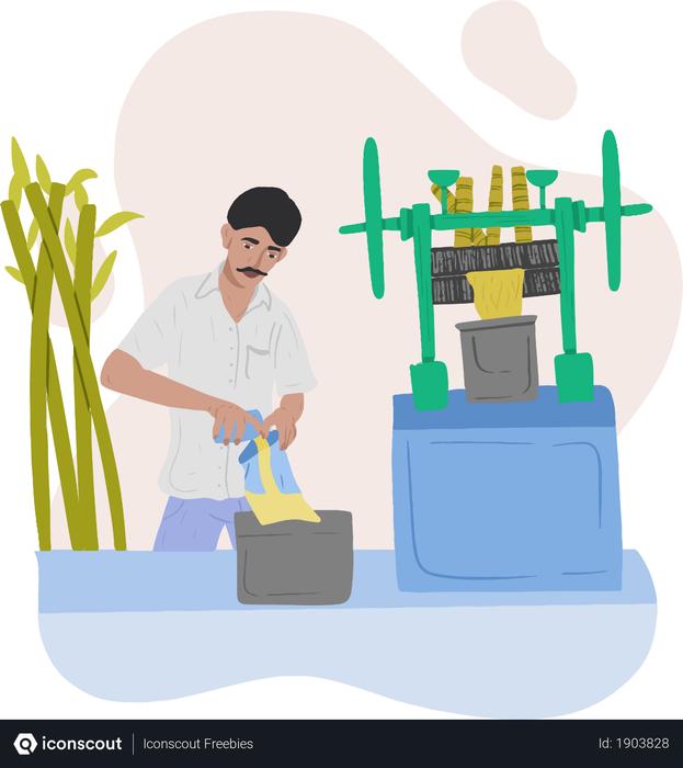 Sugarcane Juice Seller Illustration