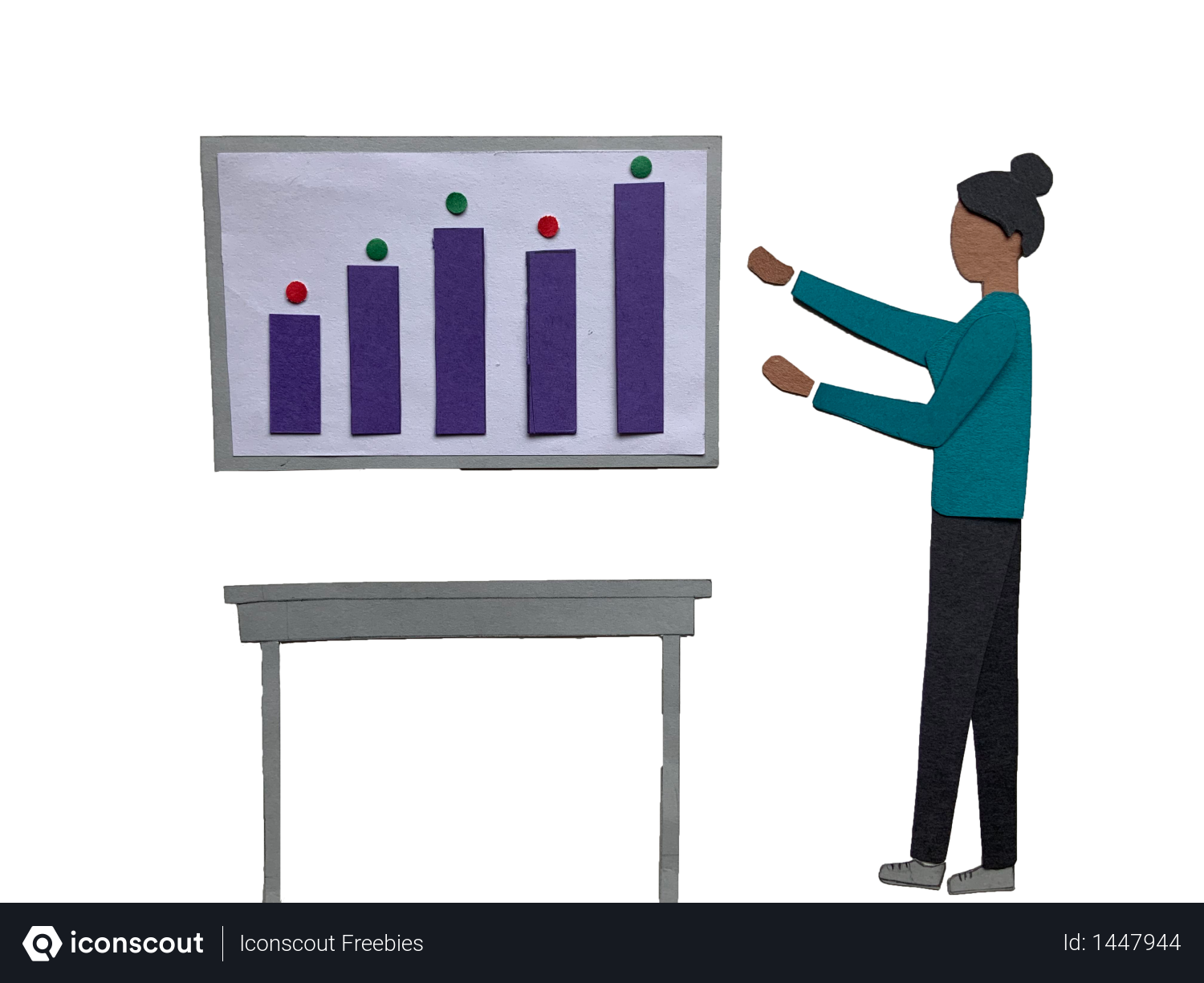 Woman explaining business graph Illustration