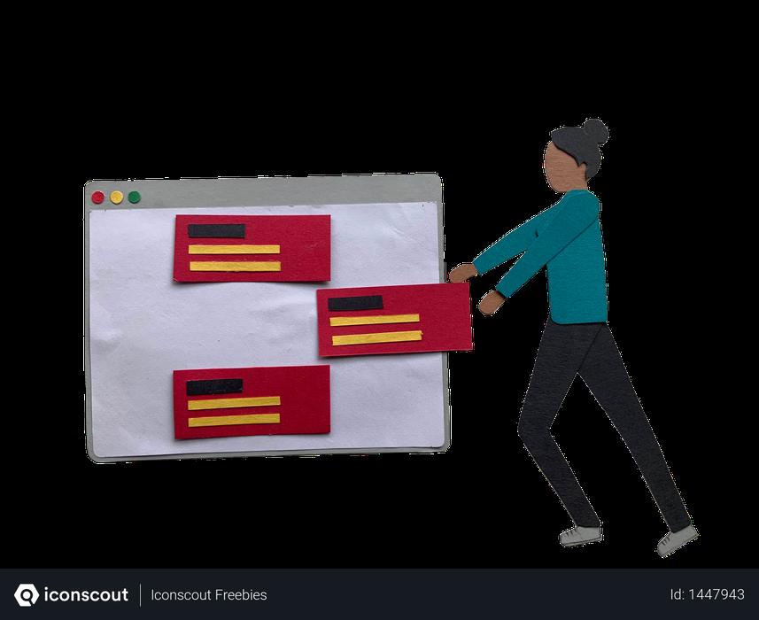 Woman managing tasks in Illustration