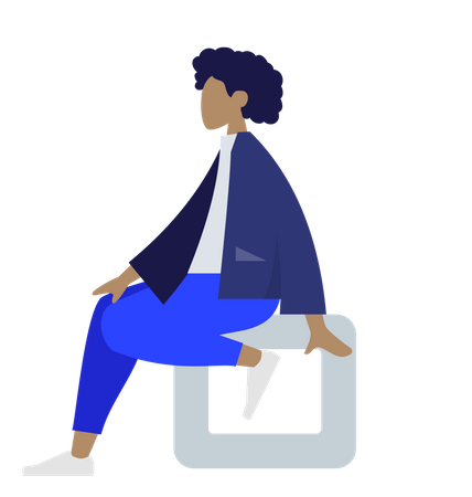 Afro woman sitting on square Illustration