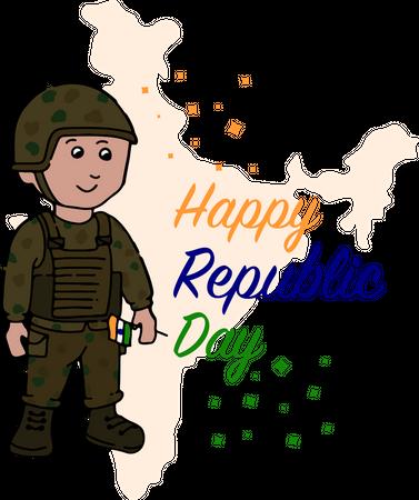 Army soldier holding tiranga Illustration